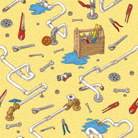 sanitary engineering: Sanitary Engineering with Pipes and Tools Seamless Pattern.