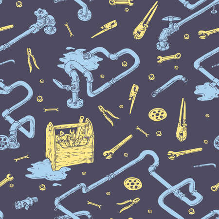 sanitary engineering: Sanitary Engineering with Pipes and Tools color Seamless Pattern. Blue and Yellow Illustration