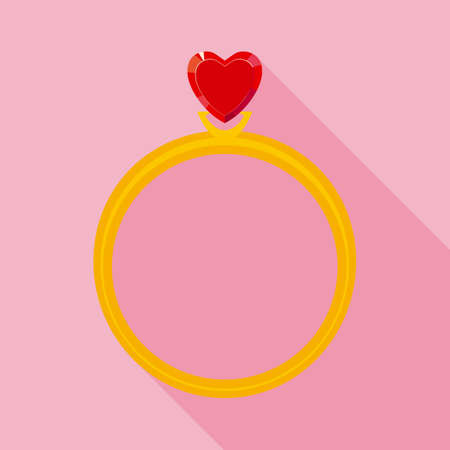 crystal heart: Golden Ring with Red Crystal Heart. Flat Style, Long Shadows on Pink Background Illustration