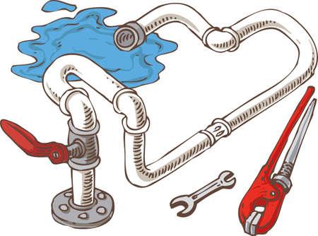Composition de génie sanitaire avec Pipes et tenailles. Vector Illustration