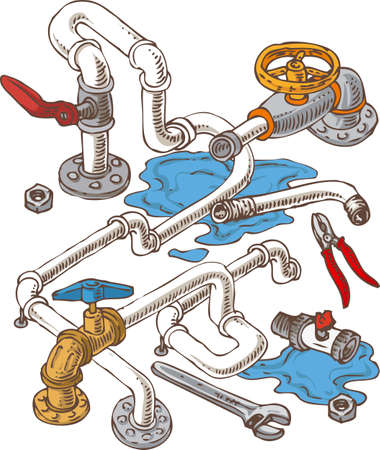 sanitary engineering: Sanitary Engineering Composition with Pipes and Wrenches. Vector Illustration Illustration
