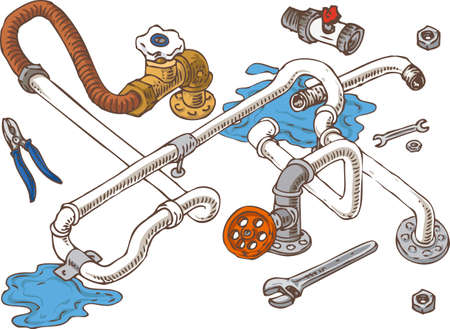 sanitary engineering: Sanitary Engineering Composition with Pipes,Pliers and Wrenches. Vector Illustration Illustration