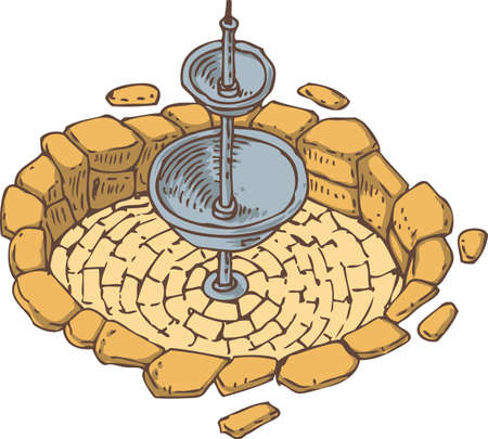 sanitary engineering: Old Stone Dry Fountain with Two Bowls
