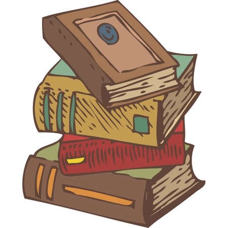 bibliography: Stack of Four Old Books. Hand Drawn Vector illustration. Isolated on White Background