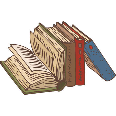 bibliography: Row of Four Books. Hand Drawn Vector illustration. Isolated on White Background