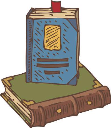 Due Closed Book con Red segnalibro. Isolato su sfondo bianco