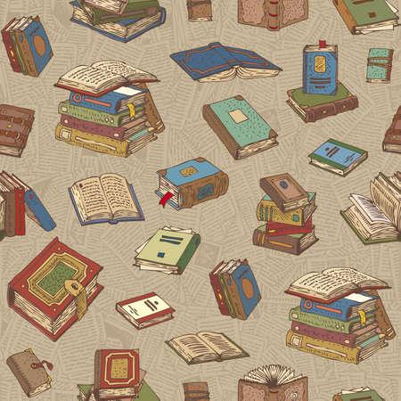 Seamless Pattern Vector avec Multicilored Livres sur un fond avec des Pages
