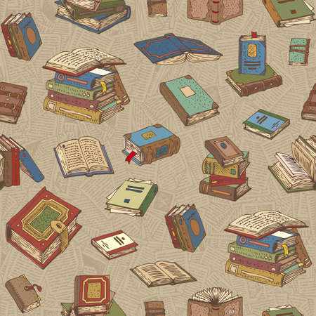 bibliography: Seamless Vector Pattern with Multicilored Books on a Background with Pages Illustration