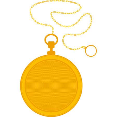 Reloj de bolsillo de oro y la cadena aislada en un fondo blanco
