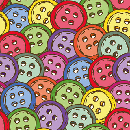 scattering: Seamless Pattern with Scattering of Multicolored Buttons Illustration