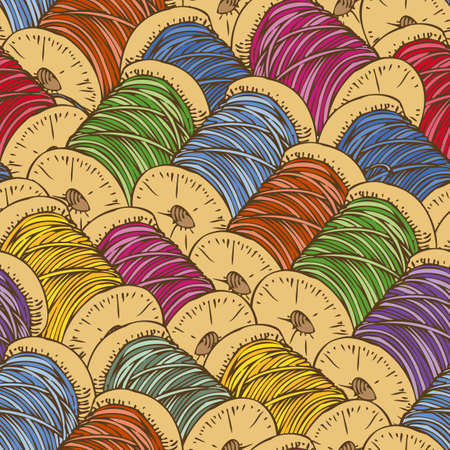 scattering: Sewing Seamless Pattern with Scattering Multicolored Spools of Thread Illustration