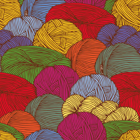 yarn: Seamless Pattern with Scattering Multicolored Hanks of Yarn