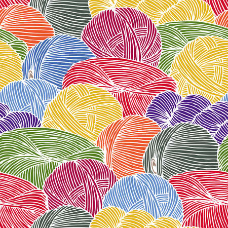 Seamless Pattern. Scattering Multicolored Hanks of Yarn with White Contour