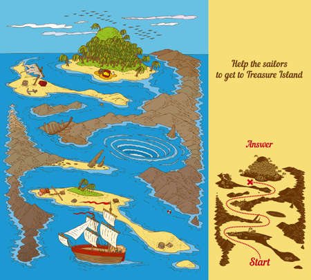 uninhabited: Treasure Island Maze Game with a Reefs, Ocean and Ship.