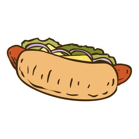 salat: Hot Dog with Salad. Isolated on a White Background