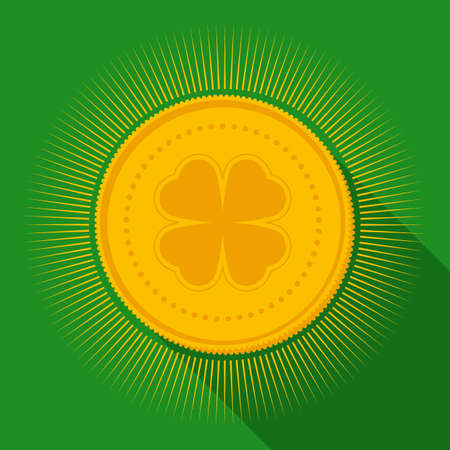 fortunate: Gold Coin with Clover Symbol. Flat Style with Long Shadows on Green Background Illustration