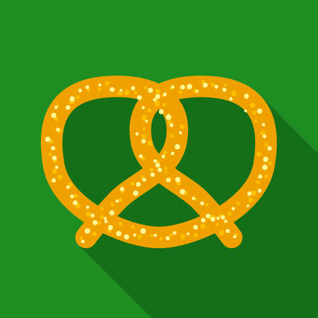 salty: Twisted Knot Salty Pretzel in Flat Style with Long Shadows on Green Background