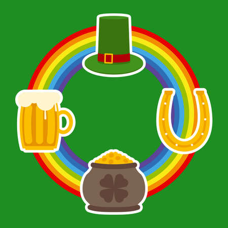 patrick: Patrick Day Symbols and Rainbow on a Green Background
