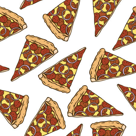 cheesy: Seamless Vector Pattern with Pepperoni Pizza Slices