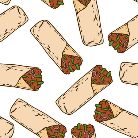Seamless Pattern with Tasty Mexican Burrito on a White Background Ilustração