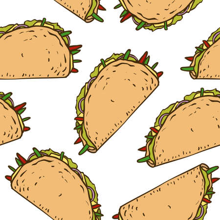 taco tortilla: Seamless Pattern with Mexican Taco in Wheat Tortilla and Salad