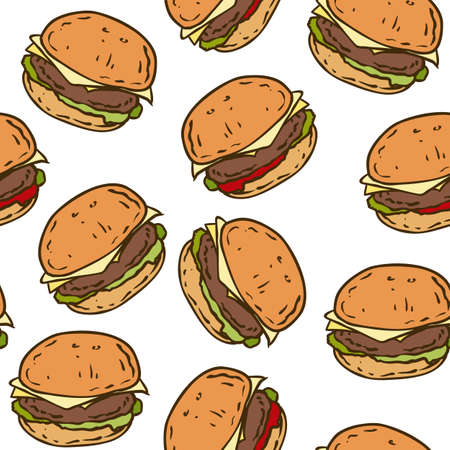 cartoon dinner: Seamless Pattern with Tasty Burger on a White Background