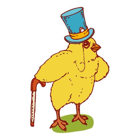 Kurczak Mały pan w niebieskim kapeluszu. Charakter Wielkanoc Ilustracje wektorowe