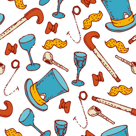 walking stick: Seamless Pattern with Gentleman Accessorie. Cylinder, bow tie, mustache, pipe, wineglasses, walking stick and eyeglasses