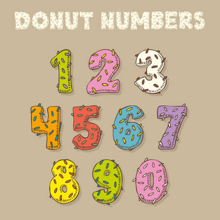 donut style: Numbers in Donut Style. Fun Color Vector Font