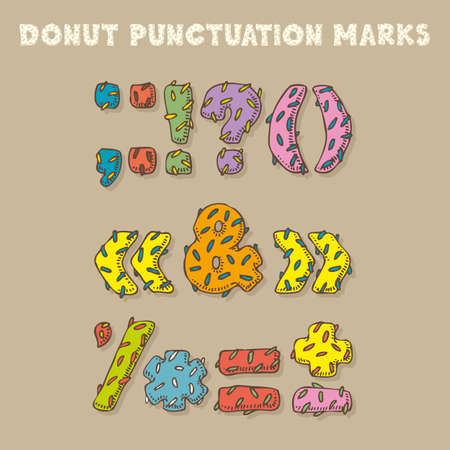 donut style: Punctuation Marks in Donut Style. Fun Color Vector Font