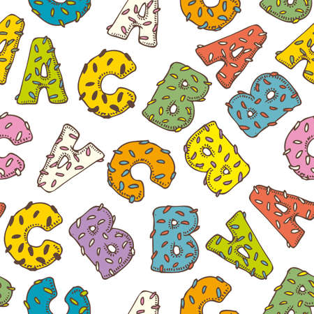 donut style: Seamless Vector Pattern with ABC Letters in Donut Style
