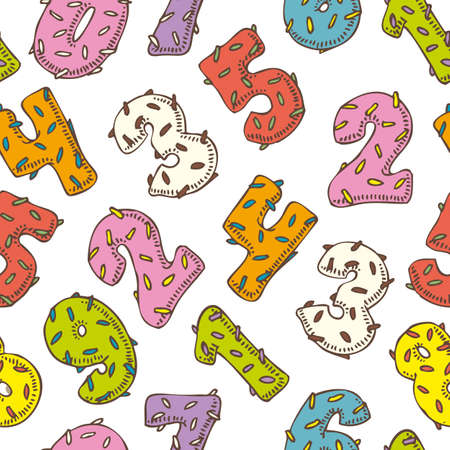 donut style: Seamless Vector Pattern with Multicolored Numbers in Donut Style