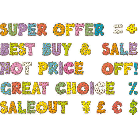 donut style: Multicolored Words for Sales and Discounts in Donut Style on a White Background Illustration
