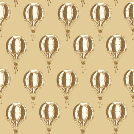 aerostat: Seamless Pattern with Vintage Balloons on a Beige Background