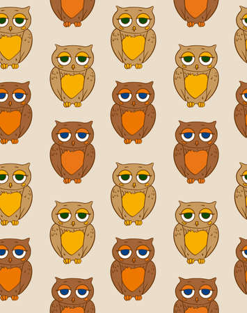 ion: Seamless Vector Pattern with Sleepy Brown Owl ion a Beige Background Illustration