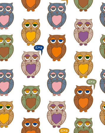 paunch: Seamless Vector Pattern with Sleepy Multicilored Owls on a White Background Illustration