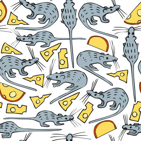 sniff: Seamless Vector Pattern with Mice and Cheese on a White Background
