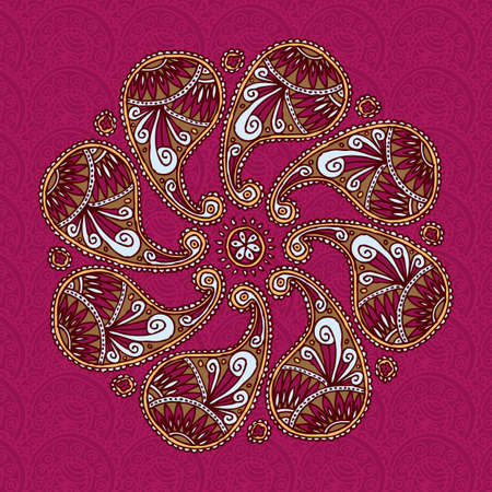 Color Paisley Flover Doodle on a Pink Background