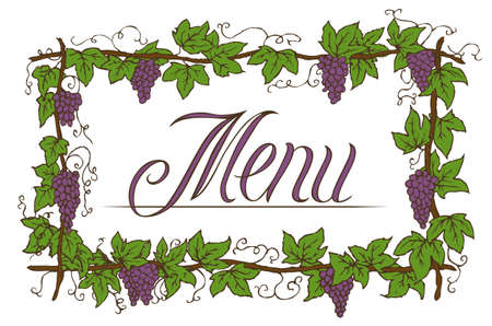 Floral Menu Cover Design with Ripe Grapes and Green Leaves Illustration