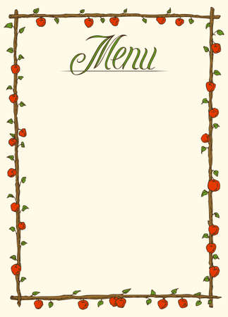 red apples: Menu Page Design with Red Apples and Green Leaves Illustration