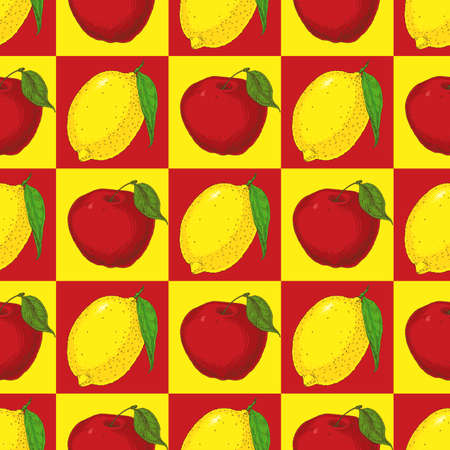 citric: Seamless Pattern with Red Aplles on a Yellow Background and Yellow Lemons on a Red Background