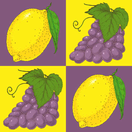 purple grapes: Seamless Pattern with Purple Grapes on a Yellow Background and Yellow Lemons on a Purple Background