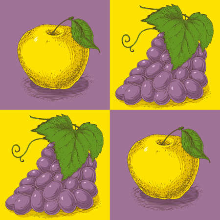 purple grapes: Seamless Pattern with Purple Grapes on a Yellow Background and Yellow Apples on a Purple Background