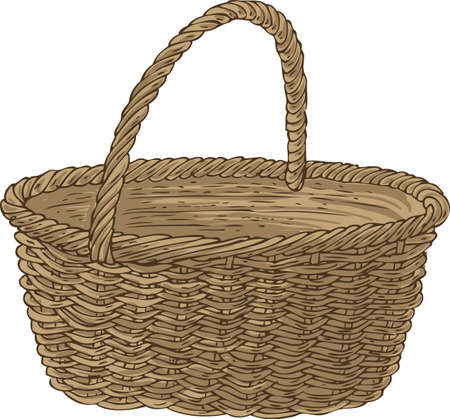 bast basket: Empty Wicker Basket. Isolated on a White Background
