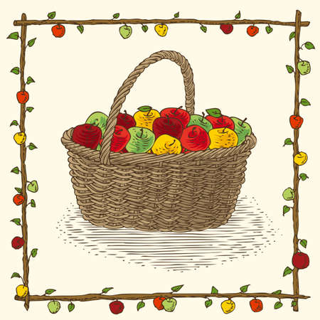 bast basket: Wicker Basket with Ripe Apples in Floral Frame on a Beige Background