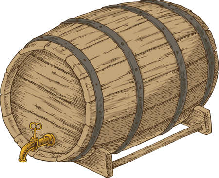 rims: Wooden Oak bBarrel with an Iron Rims. Isolated on a White Background