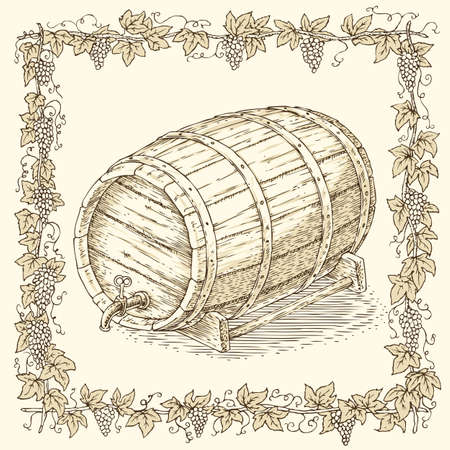 hogshead: Wooden Oak Barrel with an Iron Rims in Floral Frame on a Beige Background