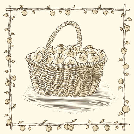 willow fruit basket: Wicker Basket with Ripe Apples in Floral Frame on a Beige Background