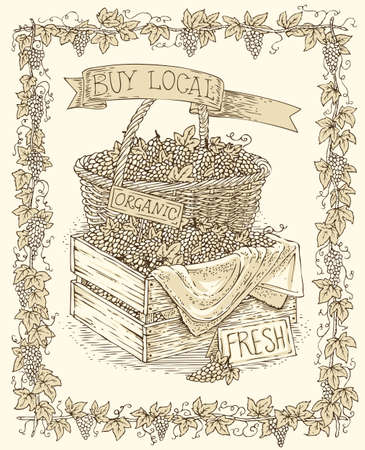 Engraving Wicker Basket and Wooden Box with Ripe Grape in Vine Frame on a Beige Background
