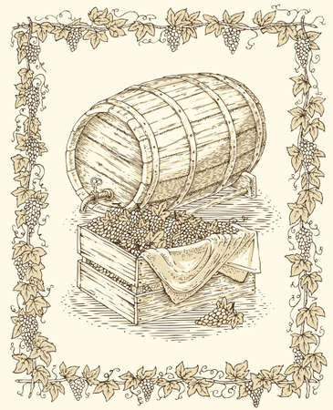 hogshead: Engraving Oak Barrel and Wooden Box with Ripe Grape in Vine Frame